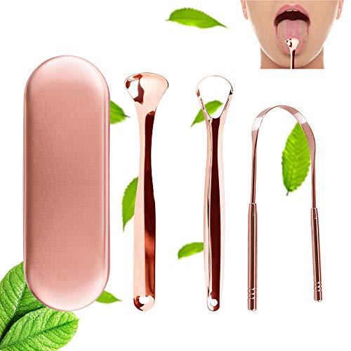 Zungenreiniger Edelstahl, 3 Stück Zungenschaber mit Tragetasche Medizinischer Qualität Metall Zungenbürste Zungenreiniger für Frischer Atem, Mundpflege Hygiene, gegen Mundgeruch Bakterien - Rose Gold