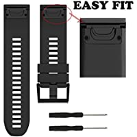 XBERSTAR Replacement Silicone Easy fit Wrist Bands Watchband Strap for Garmin Fenix 5X / Garmin Fenix 3/3HR GPS Watch (Black)