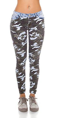 Coole Skinny Jeans im Bi-Colour-Design mit Strassverzierung - jeansblau/camouflage Größe 38