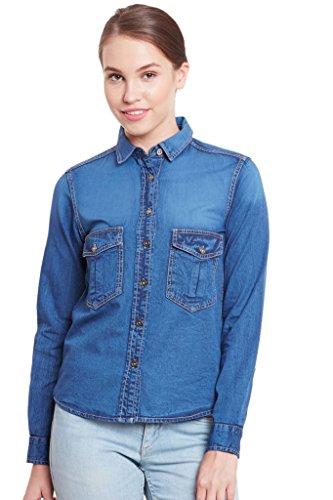 The Vanca Women's Blue Denim Shirt In Dark Wash