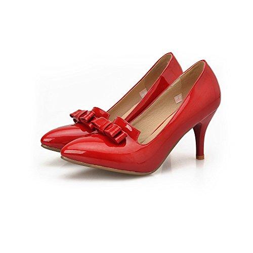 Odomolor Femme Tire à Talon Haut Pu Cuir Couleur Unie Chaussures Légeres Rouge