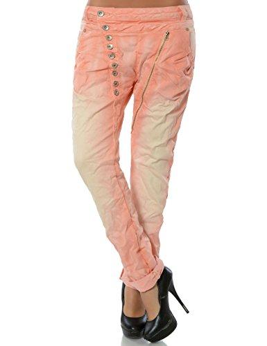 Damen Boyfriend Jeans Hose Reißverschluss Knopfleiste (weitere Farben) No 14145, Farbe:Lachs;Größe:40 / L (Jean Ausgestellte Hose)