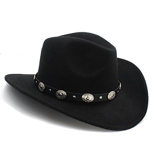 Schwarz Hut Cowboy Erwachsene (JILAN HOME- Vintage Womem Männer Western Cowboy Hut mit breitem Rand Punk Gürtel Cowgirl Jazz Cap mit Leder Toca Sombrero Cap 23 ( Farbe : Schwarz , größe : Average)
