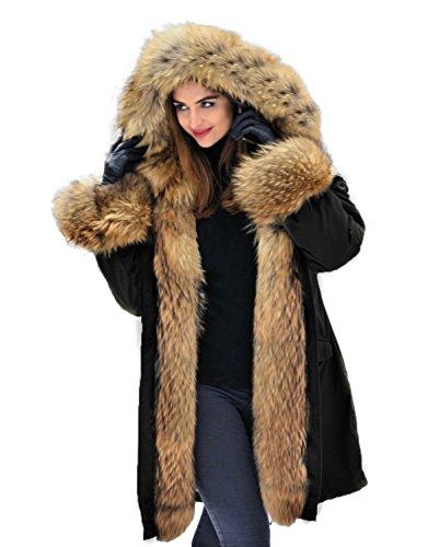 PARKA XXL Kragen aus 100% ECHTPELZ ECHTFELL Jacke Mantel Kaninchen Fütterung (M / 36) (Mantel Damen Pelz Jacke Kaninchen)
