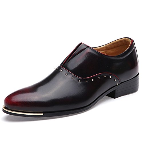 Men's Italian Style Soft Patent Leather Pointed Toe Formal Shoes Black Red