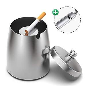 Yosemy Aschenbecher mit Deckel, Großer Edelstahl Aschenbecher Windgeschützt +1 StückTaschenaschenbecher, Tischaschenbecher mit rutschfeste Basis für Home Office Dekoration (Silver)