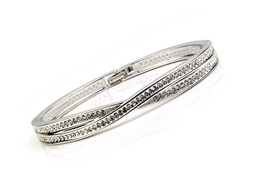 Weiß Gold Swarovski Element Kristall Doppeltes Kreuz Armreif Armband Ordner Schließe bis 19,1cm