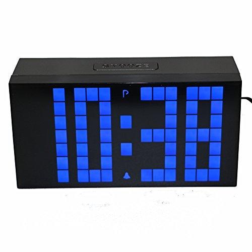 LambTown Moderna Silencioso LED Digital Despertador con Termómetro del Calendario luz de la Noche - Azul