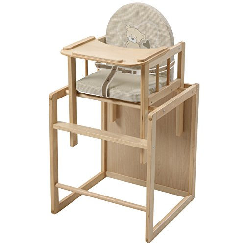 1 Holz-hochstuhl (Kombihochstuhl Liebhabär mit Gurtsystem und Essbrett Holz natur • Kombi Hochstuhl Baby Kinder Tisch Stuhl Sitz Polster)