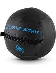 Capital Sports Epitomer Set Wall Ball 9kg 5 Stück Medizinball Set (extra griffiges Handling, geeignet für Core Cross- und Functional Training, klassisches Design, vernähtes Kunstleder) schwarz