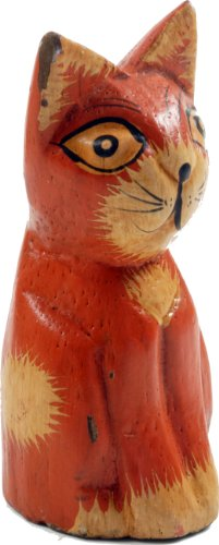 Holzkatze / Tierfiguren/ Variante: Farbe: orange