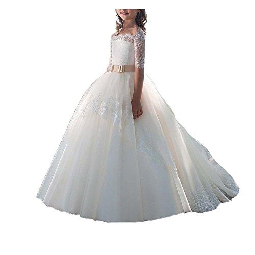Vestido Comunion Encaje Niña Regalos Primera Trajes Vestido Flores Vestidos Para Fiesta