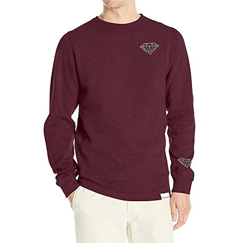 Diamond Supply Co. Men's Brilliant Crewneck Long Sleeve Sweatshirt Red XL (Diamond Co Supply Pullover)