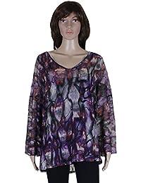 Baleza Women Ladies Long Sleeve Tie-Dye Print 2 Piece Baggy Top With Inside Vest