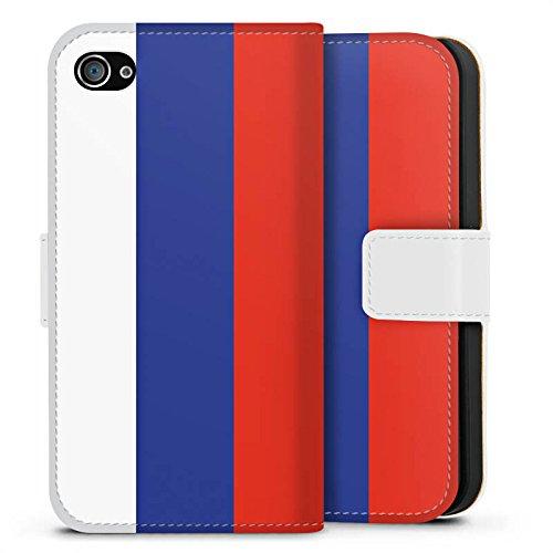 Apple iPhone X Silikon Hülle Case Schutzhülle Russland Flagge Russia Sideflip Tasche weiß