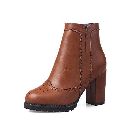 AgooLar Damen Reißverschluss Hoher Absatz PU Niedrig-Spitze Stiefel, Braun, 40