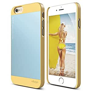 iPhone 6S Case, elago S6 Outfit Aluminum and Polycarbonate Dual Case for the iPhone 6/6S (4.7inch) + HD Professional Screen Film included - Full Retail Packaging (Creamy Yellow / Cotton Candy Blue)