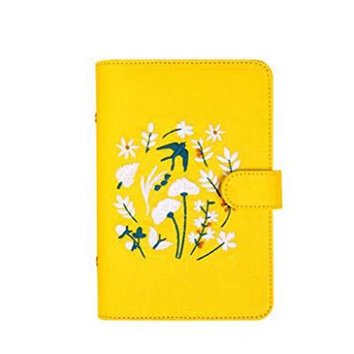 YWHY Notizbuch Gelber Frühling Schlucken Stickerei Loose Leaf Planer Gold Sprial Binder Notebook A5 A6 Tagebuch