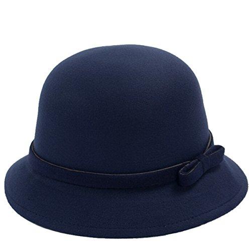 Butterme Frauen Dame Vintage Wool Round Fedora Bogen Cloche Derby Hüte Eimer Hüte (Navy blau-Bowen knot) Frauen Blauen Eimer Hüte