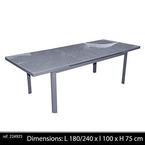 Table jardin aluminium verre