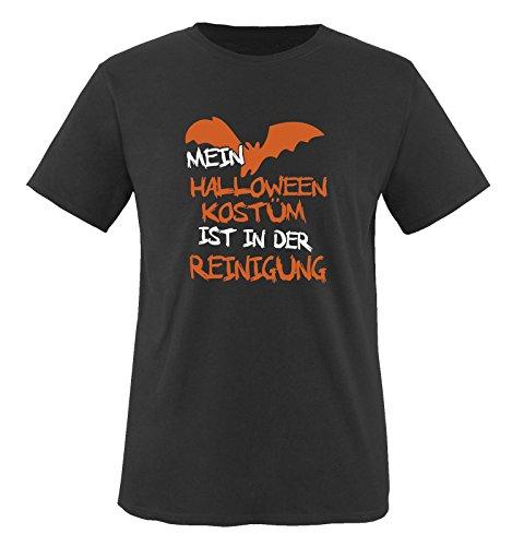 MEIN HALLOWEEN KOSTM IST IN DER REINIGUNG VAMPIR - Kinder T-Shirt Schwarz / Weiss-Orange Gr. 86-92 Schwarz / Weiss-Orange (Halloween Meister Schule Der)