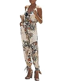 70065808 Surmajes Mujer Monos Elegante Verano Fiesta Elegante Tirantes Floral  Jumpsuit con Abertura Sin Mangas V Cuello
