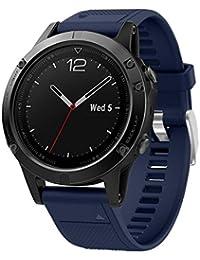 OverDose Correa de Reloj Correa de Banda Suave de instalación rápida para Garmin Fenix 5 GPS Watch (Azul…