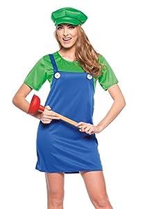 Folat-Adultos Disfraz verdes klempnerin, vestido con gorro