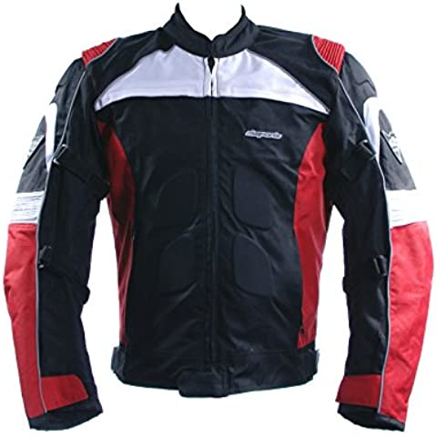 Chaqueta de Motorista de 3737Negro para hombre cuero Equitación de tela, talla Biker 2015