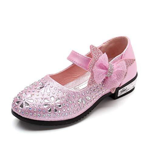 Vovotrade Kinder Mädchen Seite Strass Pailletten mit Schleife Verzierung, Prinzessin Schuhe Performance Schuhe Tanzschuhe einzelne Schuhe coole Schuhe, niedlich -