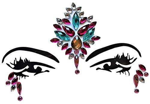 Gesicht und Körper Juwelen Edelstein Aufkleber Glitter MAKE-UP für Party Festival Shows und Bühnenauftritte BFG1802 bunt (Körper Juwel Kleben)
