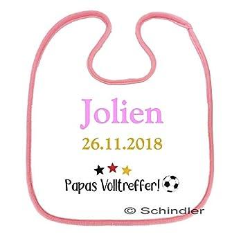 """bedrucktes Babylätzchen für Mädchen – Motiv""""Papas Volltreffer 2″ mit Wunschnamen und Datum in 3 Farben"""