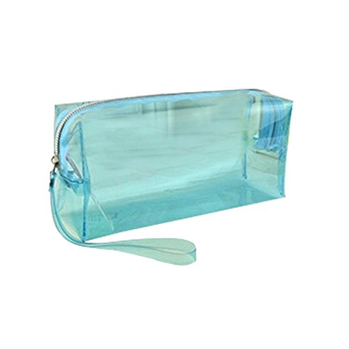 Preisvergleich Produktbild Transparente Federmäppchen Kreativ Große Kapazität Mäppchen,  Candy Farbe Student Aufbewahrungstasche Für Schreibwaren,  Kosmetik Tasche Grün Blau