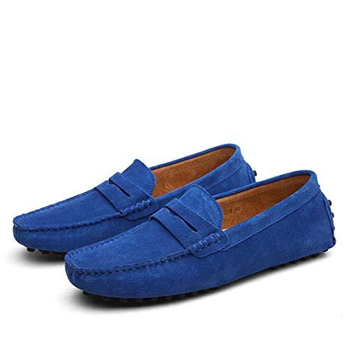 Men Casual Shoes Fashion Men Shoes Leather Men Loafers Moccasins Slip On Men's Flats Loafers Male Shoes Royal Blue 13 -