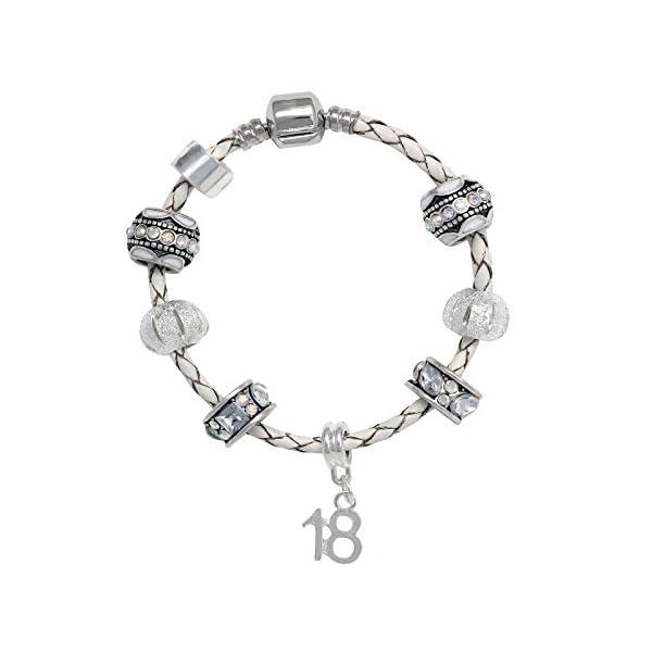 18th Birthday Leather Charm Bracelet Pandora Style Gift Boxed 19cm 41HPv6L0xsL