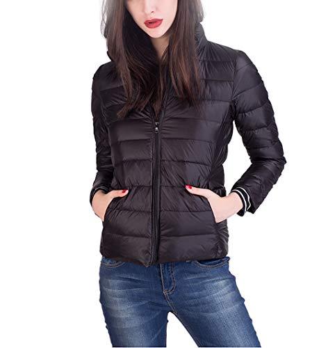 Lylafairy Daunenjacke Damen Ultraleicht Winter Mantel Übergangsjacke mit Aufbewahrungstasche Winterjacke (Black, XX-Large)