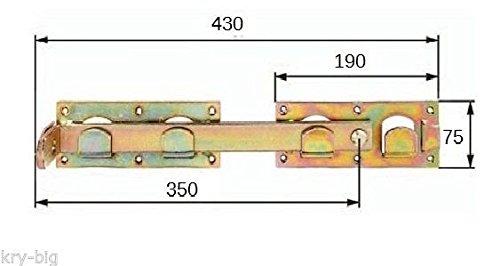 Doppeltorüberwurf, Schlagladenüberwurf, Torverschluss, 430 mm, verzinkt