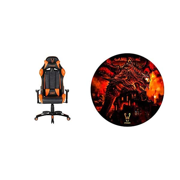 Woxter Stinger Station Orange – Silla Gaming (Racing) + Alfombrilla Gaming de Suelo