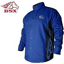 BSX - Chaqueta de soldadura resistente al fuego, color azul con llamas azules, talla