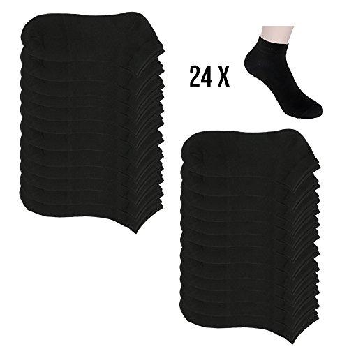 12 Paar Sneaker Socken Damen und Herren Kurzsocken Füßlinge Baumwolle in Schwarz und Weiß (43-46, 24xschw.)