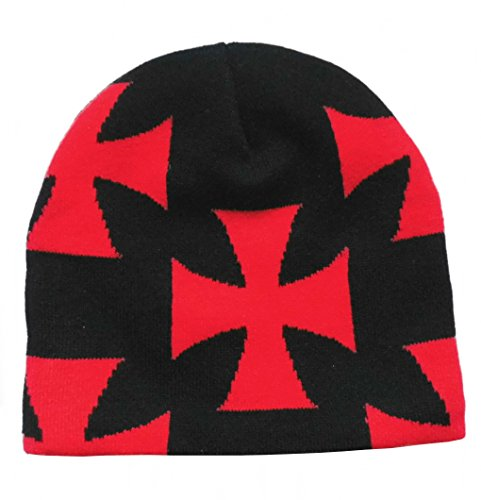 Iron Cross Hat (Iron Cross Eisernes Kreuz rot schwarz Biker Beanie Mütze)