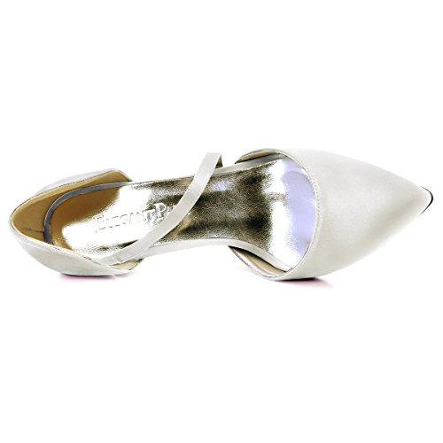 Elegantpark Hc1711 Femmes Bout Pointu D`orsay Haute Talon Soirée De Mariée De Mariée Chaussures Ivoire