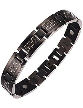 Moocare schwarz Titan magnetarmband herren gesundheit mit Gold Carbon Fiber Gift Box Link Remover Werkzeug