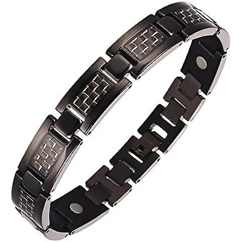 Moocare® Uomo Nero Oro Braccialetto Magnetico al titanio con fibra di carbonio, confezione regalo, con attrezzo per rimozione maglie