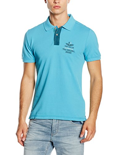 TOM TAILOR Herren Poloshirt Washed Polo with Chambray Mix Blau (coastal blue 6945)