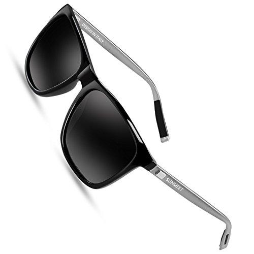 2 - SUNMEET Gafas de sol Hombre Polarizadas Clásico Retro Gafas de sol para Hombre UV400 Protection S1001(Negro/Pistola)