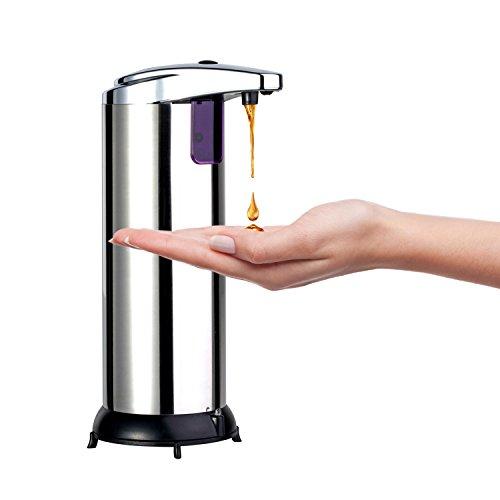 Homgrace Dispenser di Sapone Automatico 280 ml con Sensore a Infrarossi, Distributore Dosatore per Sapone Liquido in Acciaio Inox per Bagno Cucina Doccia