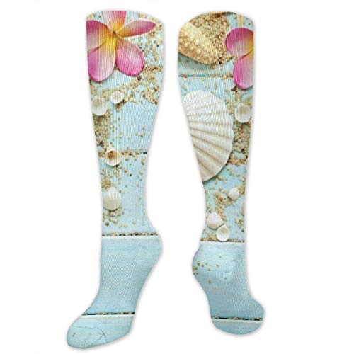 mchmcgm Starfish SND Seashell On Board Polyester Cotton Over Knee Leg High Socken Casual Unisex Thigh Strümpfe Cosplay Boot Long Tube Socken for Sports Gym Yoga Hiking Cycling Running Football -