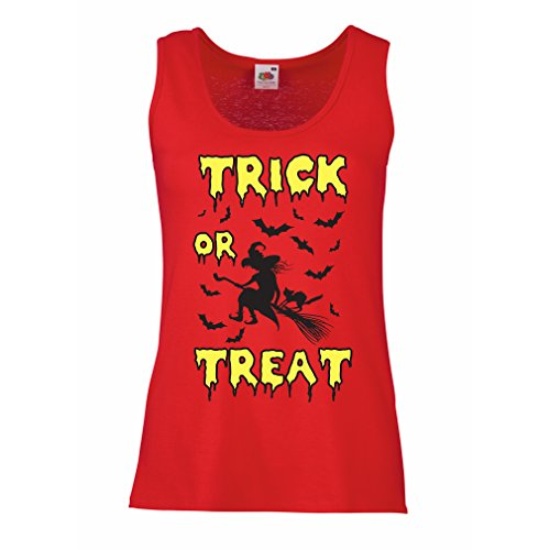 lepni.me Damen Tank-Top Trick or Treat - Halloween Witch - Party outfites - Scary Costume (X-Large Rot Mehrfarben)