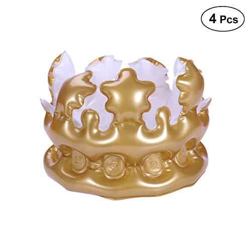 Amosfun 4 Stücke Aufblasbare Krone Neuheit Aufblasbare Spielzeug Party Favor Kinder Party Dekoration Kinder Geschenk (Golden)